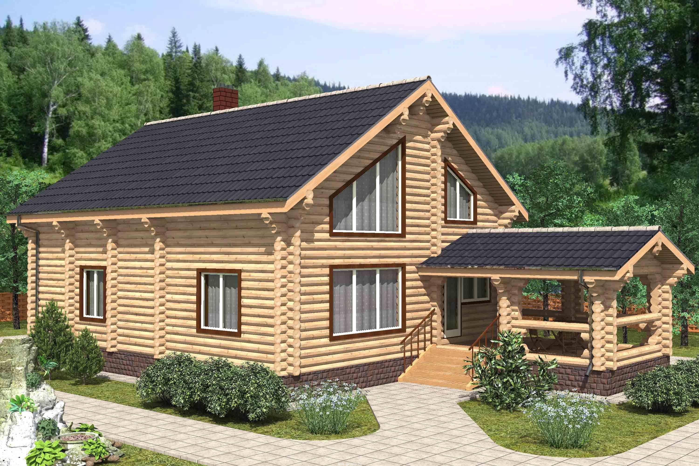 Дом с мансардой и террасой из бревна фото 3